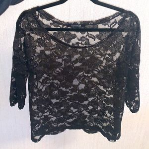Forever 21 Gold Tinge Lace Blouse